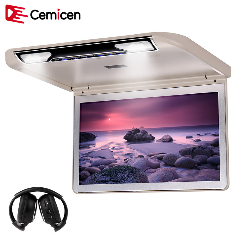 Cemicen 13 3 Inch Car Ceiling Monitor with Full 1920 1080 Flip Down Screen Roof Mount