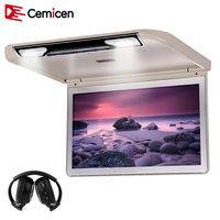 Cemicen 13.3 Inch Car Roof Screen In Car Monitors 1920*1080 Flip Down Screen Roof Mount MP5 Player HDMI USB SD IR FM Transmitter