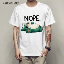 e8213b74a7 Pokemon Funny Snorlax Nope Men T Shirts Digital Printing 100% Combed Cotton  Funny Top Tees
