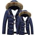 Chaqueta de invierno Para Hombre Cuello de Piel Desmontable de La Moda Azul Gris Negro Colores Mujeres y Hombres de Invierno Parka Abrigo 125