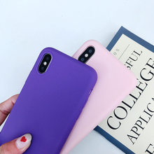 Matte Phone Case For iPhone 6 7 8 Plus 6s 7Plus 8Plus X S 5 5s SE XR XS MAX Solid Color Soft TPU Cases Silicone Back Cover Capa(China)