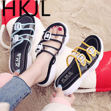 HKJL women slippers new summer leisure Korean female 2019 transparent sandals buckle muffin thick bottom A337