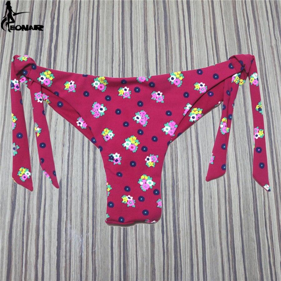 EONAR Thong Bikini Bottom Swimsuit 2018 Brazilian Cut Cheeky Swimwear Bottom Floral Micro Bikini Side Ties Biquini Swim Suits