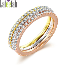 Lateefah Tiny Elegant 3pcs Stackable Rings Set for Women Full Pave Cubic Zirconia Three Colors Thin Finger Ring Set Anillos Set