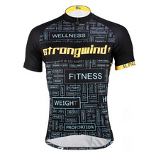 "Black Cycling Jersey Men ""Strongwind"" Short Sleeve Bicycle Bike Clothes Top Shirt"