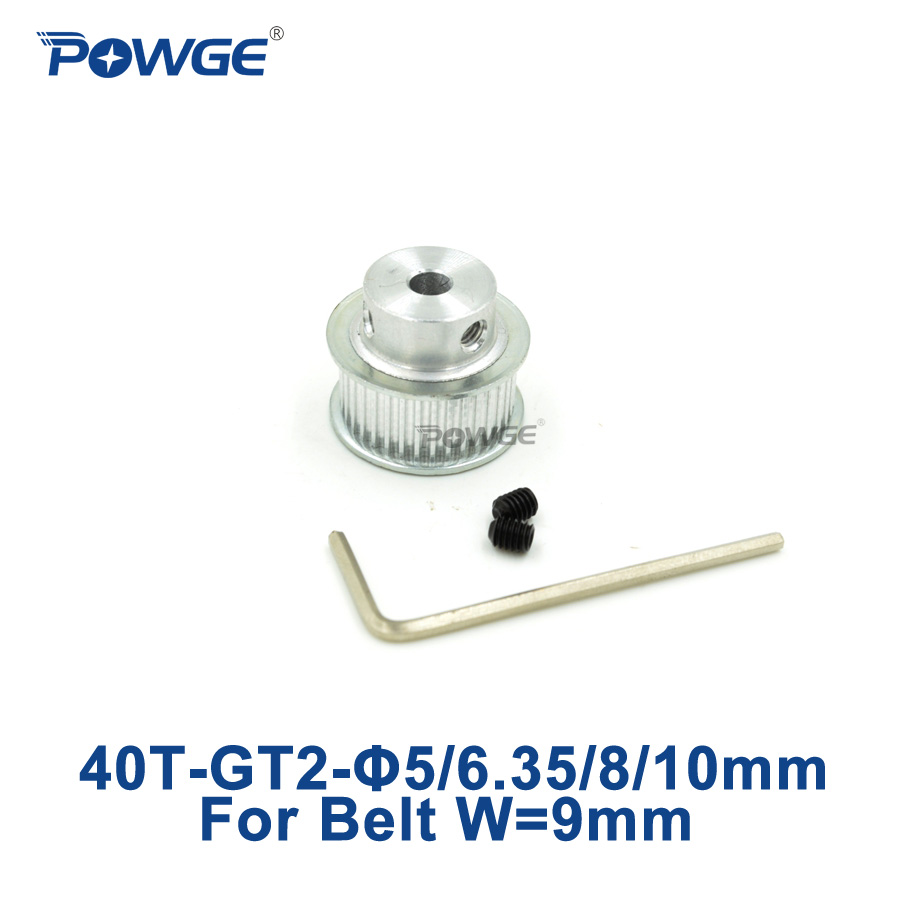 POWGE 1pcs 40 teeth GT2 Timing Pulley Bore 5mm 6.35mm 8mm 10mm for width 9mm GT2 open Timing Belt 2GT Belt pulley 40Teeth 40T powge 8pcs 20 teeth gt2 timing pulley bore 5mm 6mm 6 35mm 8mm 5meters width 6mm gt2 synchronous 2gt belt 2gt 20teeth 20t