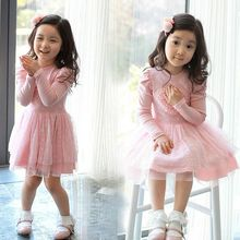 2016 New Baby Princess Dress Long Sleeve Glorious 3D Heart Tulle Tutu Dress 2-7Y