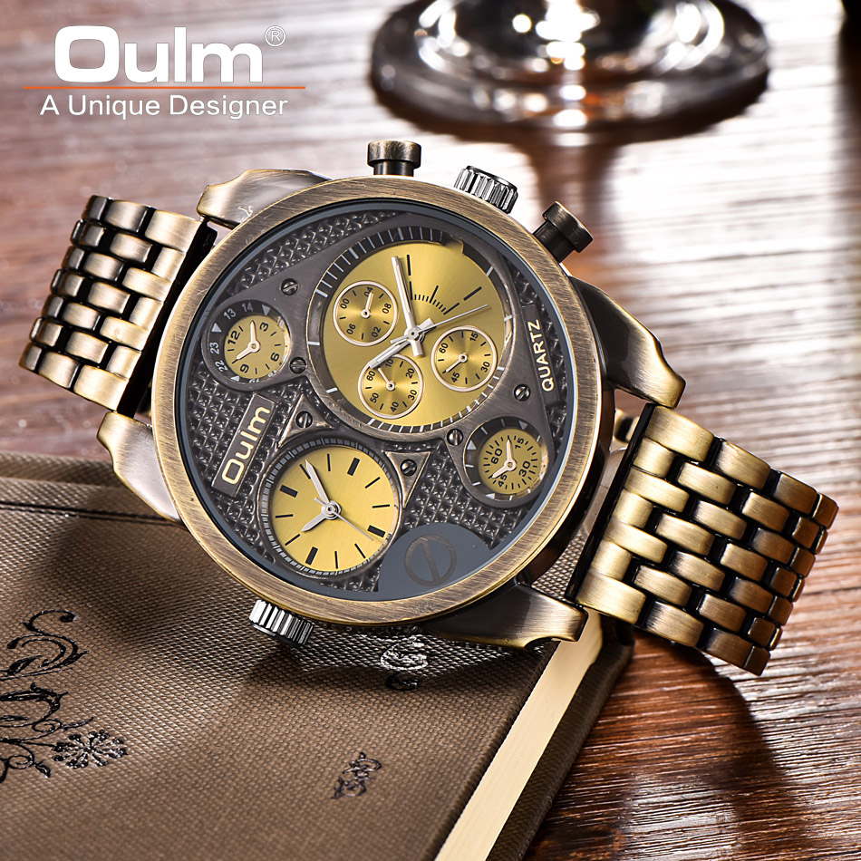 Oulm Men Watch Bronze Retro Quartz Wristwatch Fashion Big Dial Watch Multiple Time Zone All Steel Male Watches Men Gift