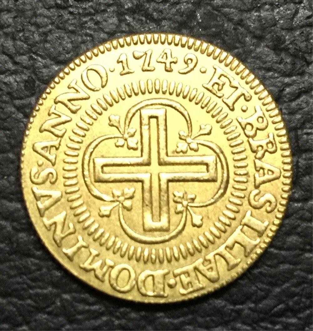 1749 БРАЗИЛИЯ 2000 Reis-Жоао V копия 22 К Золотая монета