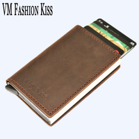 VM FASHION KISS Crazy Horse Genuine Leather RFID Security Aluminum Box Wallet Utomatic Business Credit ID