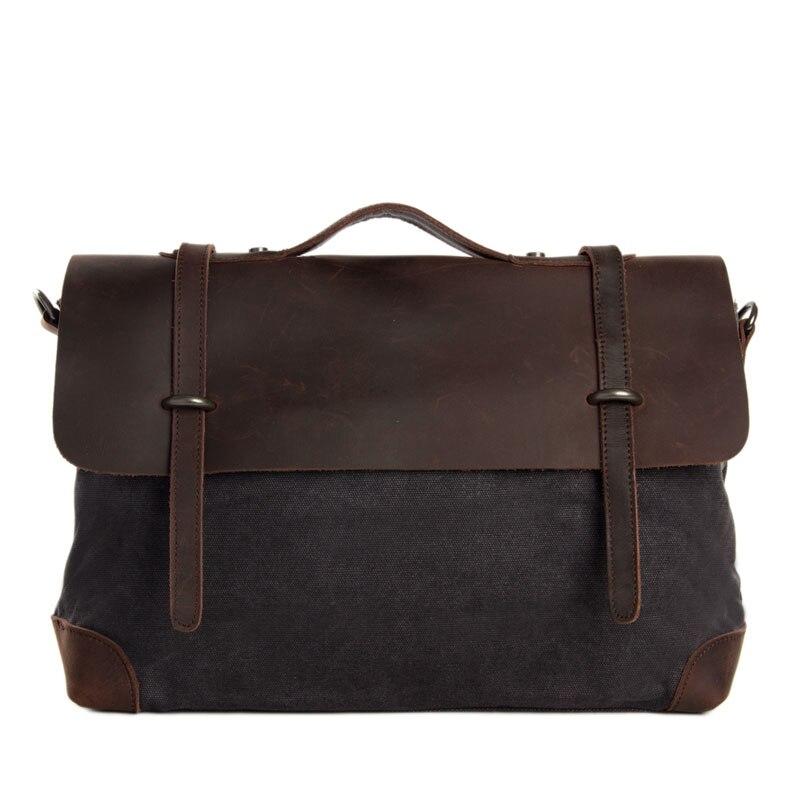 Leather Canvas Briefcase Messenger Bag Crossbody Bag Canvas Bag Laptop Bag High Fashion Vintage 6896