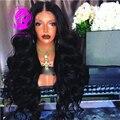 9 A Lo Largo de medio a fino marrón oscuro cabello Humano 150% densidad de encaje peines del pelo del bebé del frente del cordón ondulado brasileño virginal sin cola peluca