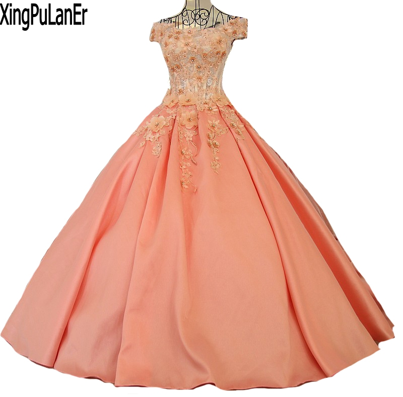 vestido de festa A Line V Neck Short Sleeve Cap Sleeve Pink Satin Flower Appliques Beaded Lace Up   Prom     Dresses   Pageant   Dresses