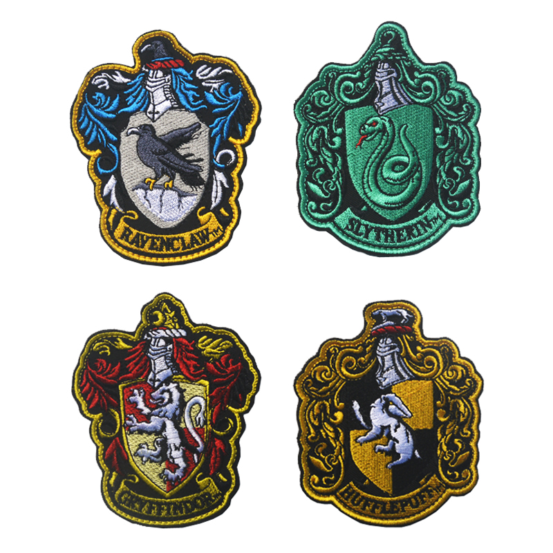 Cosplay Potter Shcool Badge Sew-on Gryffindor Slytherin Ravenclaw Hufflepuff Embroidery Patches For Coat Jacket Cloak