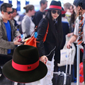 High quality red black woolen metal m female hat fashion street fedoras
