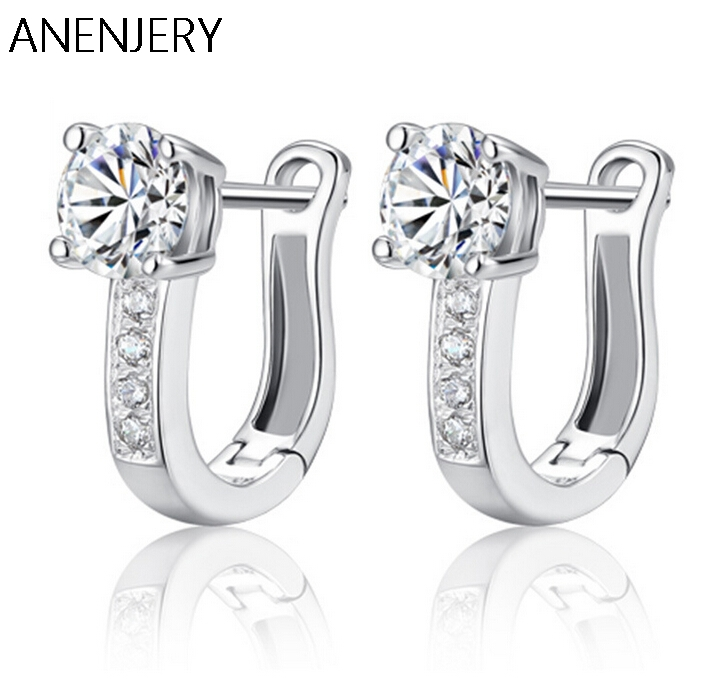 High Quality Fine Jewelry Luxury 925 Silver Earrings U Shape Zircon Crystal Stud Earrings For Women brincos S-E08