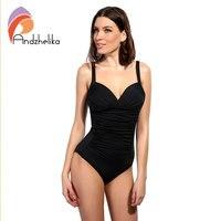 Andzhelika One Piece Swimsuit 2017 Women Swimwear Solid Beach Plus Size Bodysuits Vintage Retro Fold Bathing