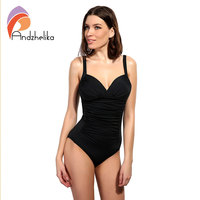 Andzhelika One Piece Swimsuit 2017 Women Swimwear Solid Beach Plus Size Bodysuits Vintage Retro Fold Bathing