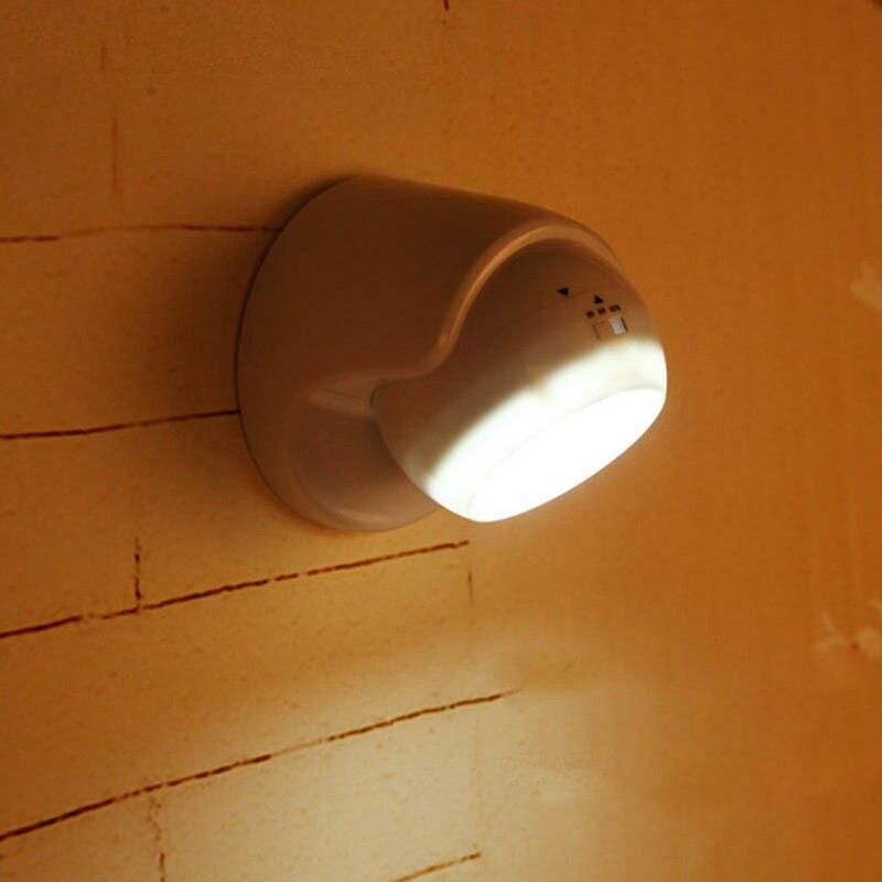 New LED Night Light 360 Degree Rotation Motion Sensor Night Lamp Corridor Wall Light