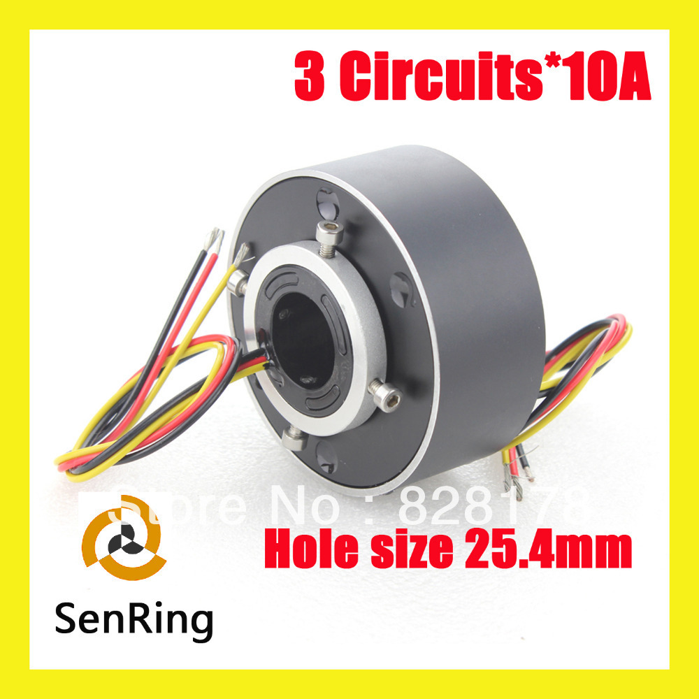3 wires contact of bore size 25.4mm each 10A of through hole slip ring assembly
