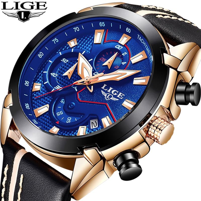 Relogio masculino LIGE Marca de Moda Relógios dos homens de Quartzo Esporte Militar Assista Homens de Negócios relógio de Pulso Relógio de Couro À Prova D' Água