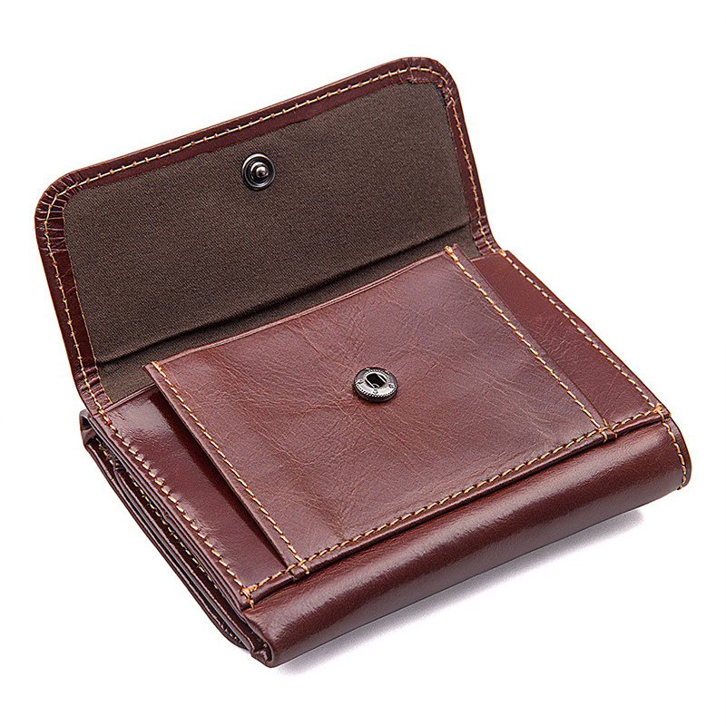 Genuine Leather Men Wallet Short Card Purse Cowhide Solid Wallet
