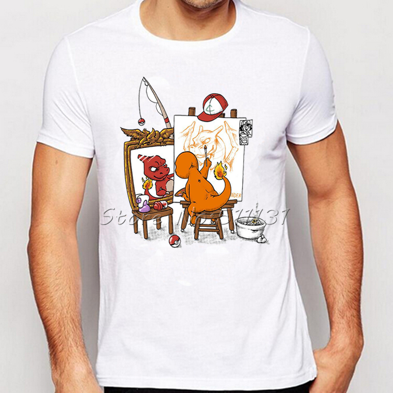 Fashion Anime Norman Rockwell's triple self-portrait Funny Pokemon Print T-Shirt Summer Men Personality Charizard T Shirt Tops