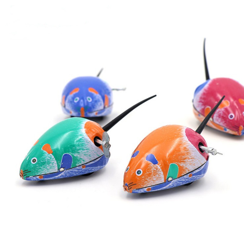 Classic Clockwork Vintage Tin Toys Mouse Wind Up Toys Mental Walking Mechanical Tin Mouse collection decoration W230