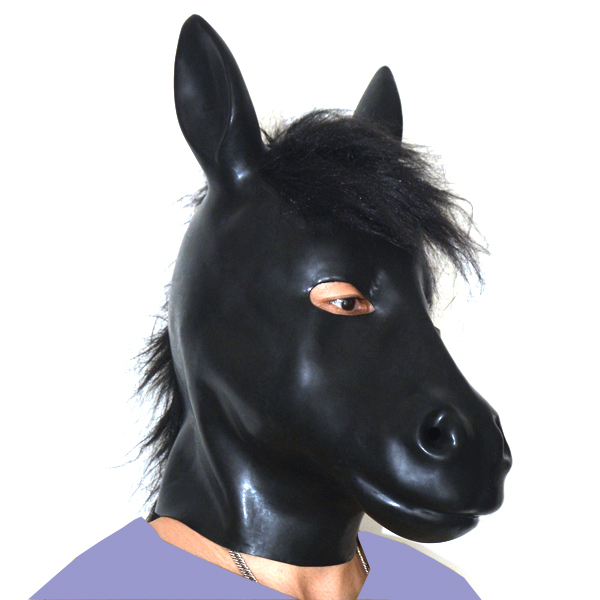 Latex rubber fetish mask with back zipper plus thickness 1mm HORSE slavehood 100 natural have blind