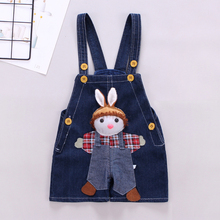 DIIMUU Summer Toddler Clothing Baby Boys Girls Shorts Denim Pants Overalls Children Cartoon Ribbits Suspender Pant
