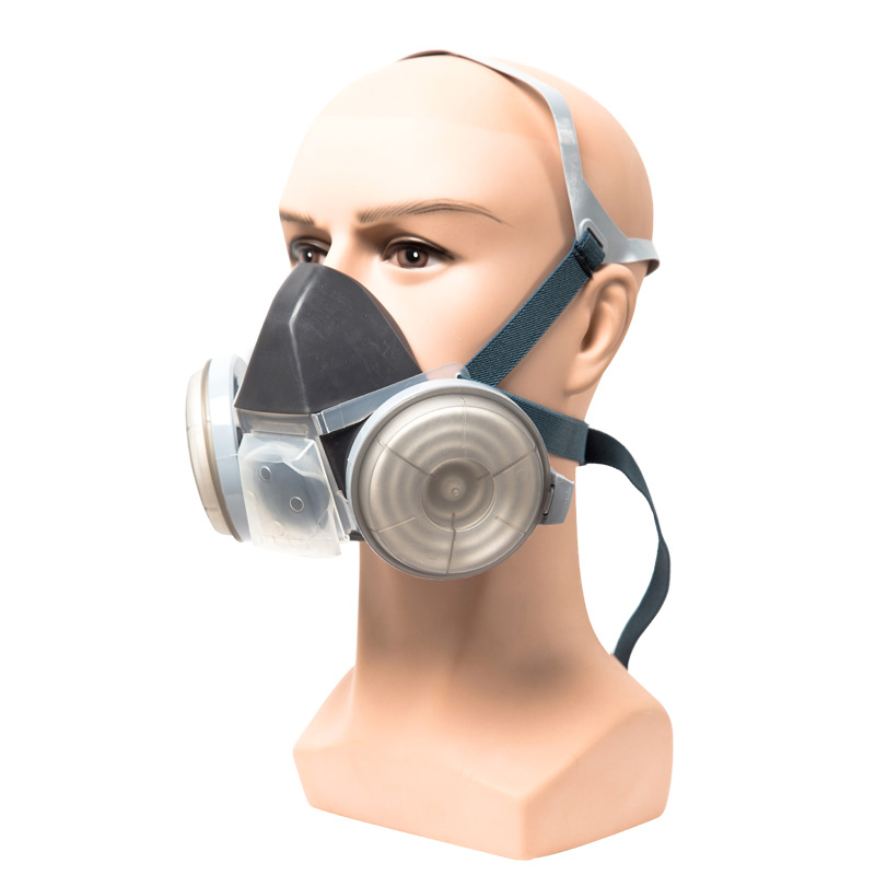Adjustable Strap Chemical Black Gas Mask Emergency Survival Safety Respiratory Gas Mask Anti Dust Paint Respirator Mask Jade White Personal Health Care