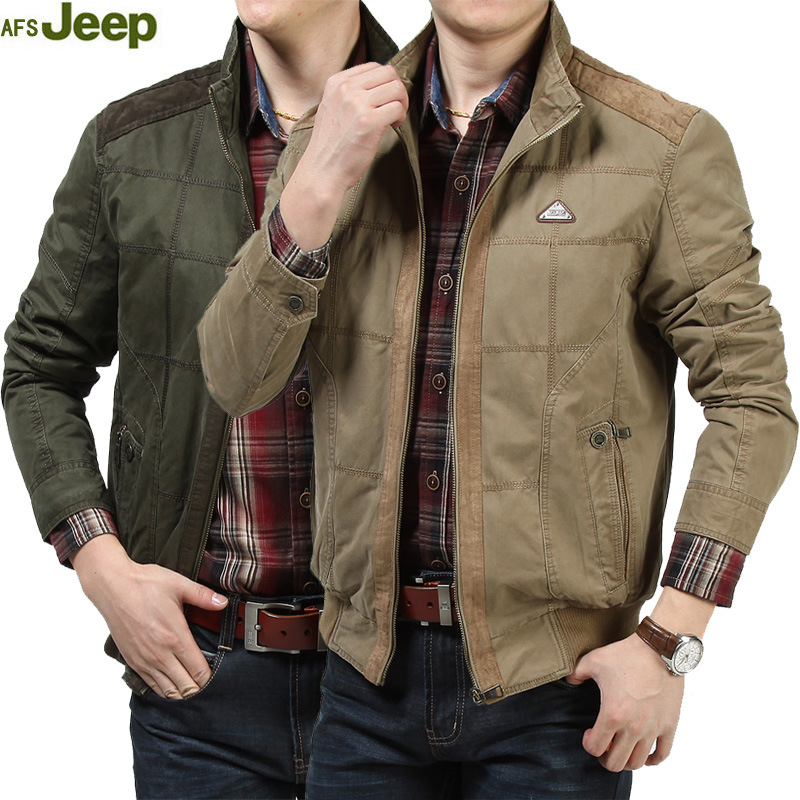 AFS JEEP Spring And Autumn New Arrival Casual Cotton Men Jacket Coat Stand Sollar Solid Color Men's Jacket tops