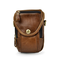 Retro Oil Crazy Horse Genuine Leather Mens Waist Bag Travel Fanny Pack Messenger Shoulder Bag Wallet