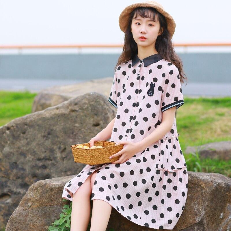 Mori Girl Sweet Clothes Cotton and Linen Polka Dot Printed Summer Dress Women Short Sleeve Organza Shirt Dresses M-XXL