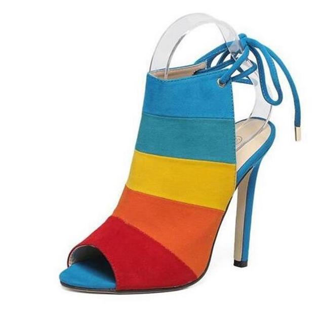 2016 Nuevo Estilo de Verano de Las Mujeres de Europa Grandes de Diseño de Estilo Romano Bombas Boca de Los Pescados del Color del encanto Flock Suede Thin Tacones Altos Zapatos de Mujer