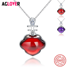 Red/Purple Zircon Pendant Necklaces Genuine 925 Sterling Silver Chain Necklace for Women Lover Party Gift Jewelry Accessories edell 100% 925 sterling silver bar pendant necklaces for men women genuine ribbon tiff necklace fashion jewelry gift