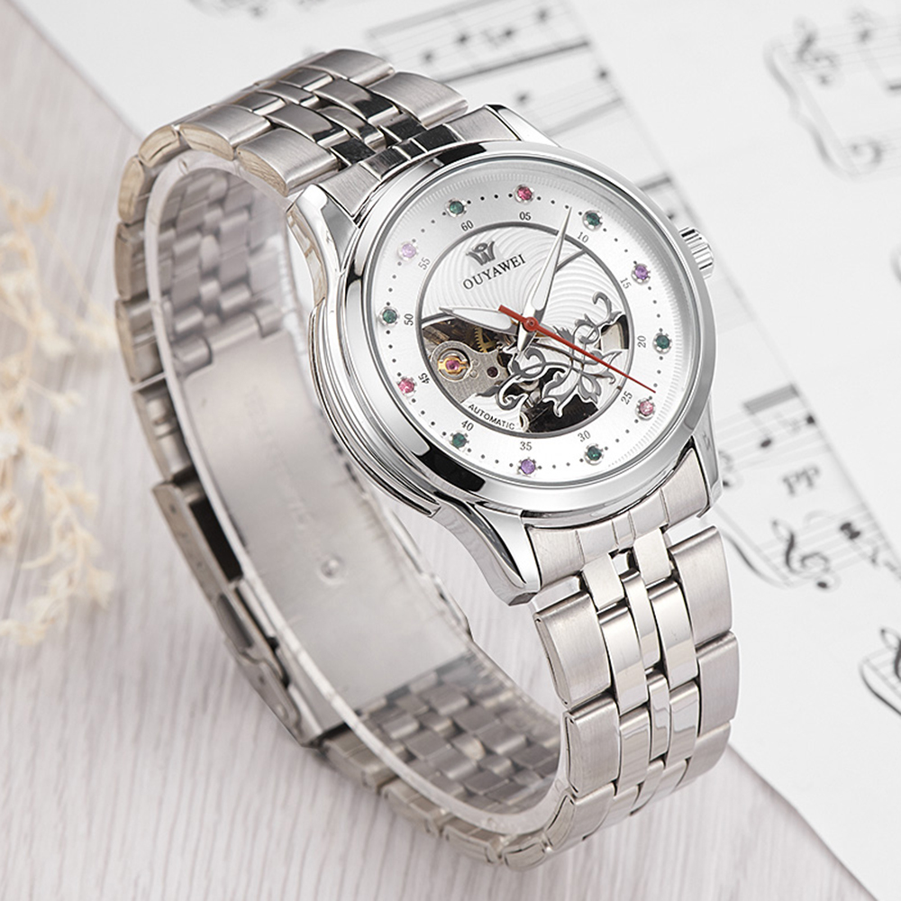 OUYAWEI Woman Bracelet Watch Skeleton Mechanical Wristwatch Orologio Automatico da Donna Ladies Crystal Watch Montre Femme