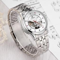 Ouyļmulher pulseira relógio esqueleto relógio de pulso mecânico orologio automatico da donna senhoras relógio de cristal montre femme
