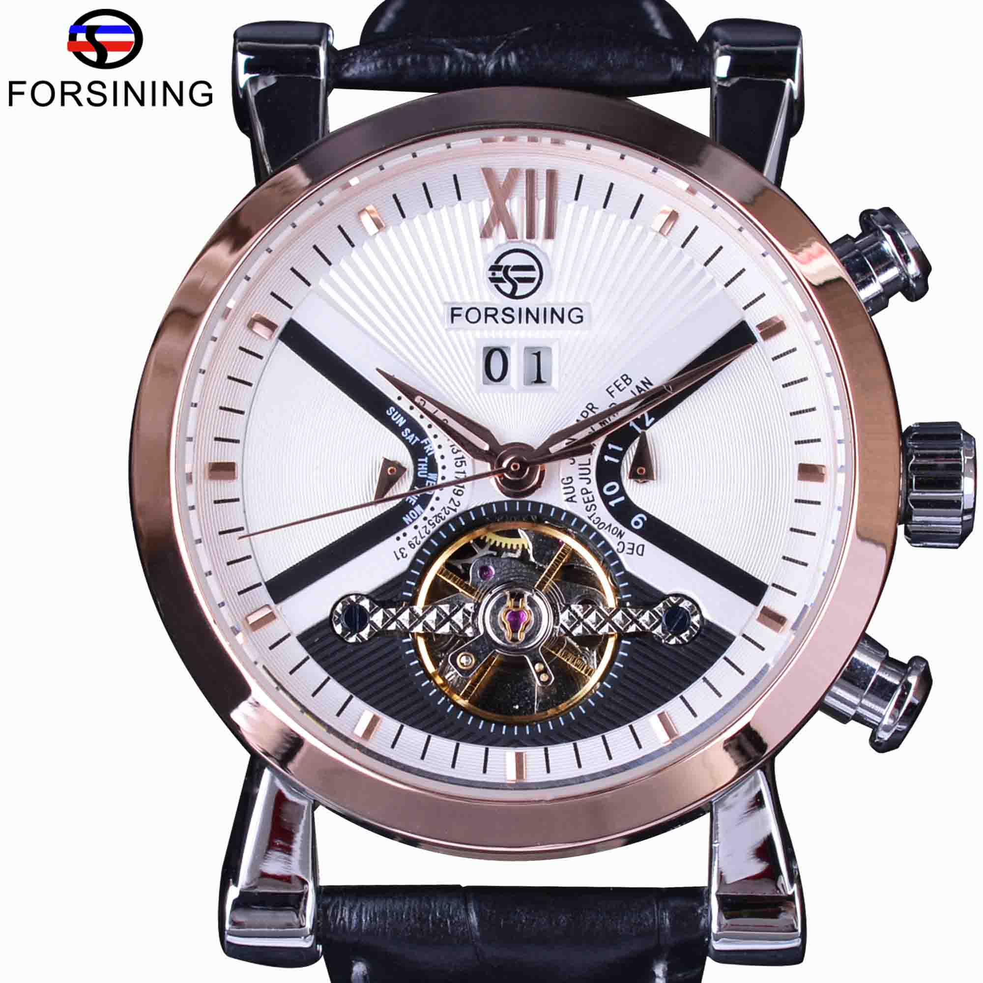 Forsining Rose Golden Classic Tourbillion Calendar Genuine Leather Automatic Watches Mens Mechanical Watches Top Brand Luxury