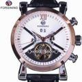 Forsining Rose Golden Classic Tourbillion Kalender Echtem Leder Automatikuhren Herren Mechanische Uhren Top-marke Luxus