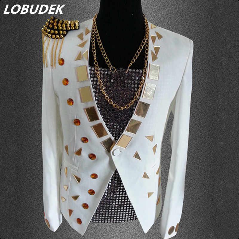 f93468b48088 Черный, белый цвет зеркало куртка Костюмы Блейзер для певца верхняя одежда  панк танцор наряд мужской