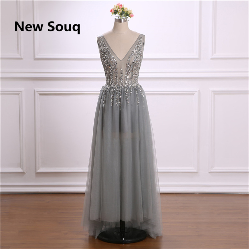 Sexy V-neck Backless Prom Dresses with Sequins Beading Grey Tulle A-Line Prom Dress Evening Party Gowns Vestido De Fiesta