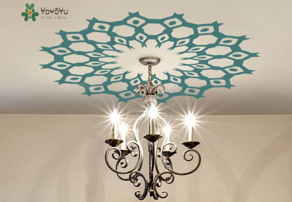 Ceiling Medallion DECAL Copper Tribal Modern Aztec Ethnic Decor Removable  Vinyl Lamp Chandelier Wall Sticker NY 432 In Wall Stickers From Home U0026  Garden On ...