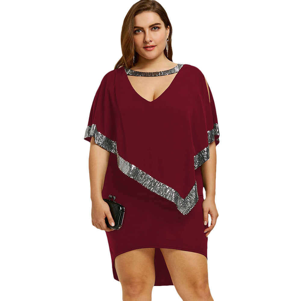 Gamiss Plus Size 5XL Sexy Sequin Capelet Dress Bodycon V Neck Elegant  Evening Formal Party Dress 25c5f3e8ea15