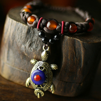 Natural Stone Agate Bracelet Charms Retro Vintage Jewelry Original Tribal Ethnic Style Adjustable Tortoise Bracelets From