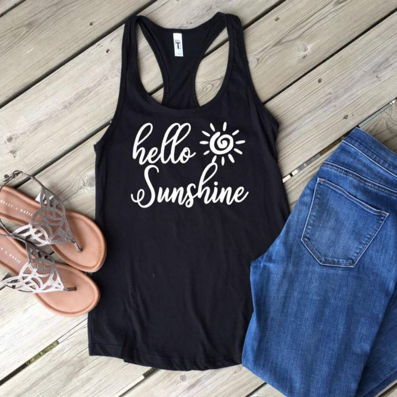 Women Summer Hello Sunshine Racerback   Tank     Top   Off The Shoulder Sexy Graphic Tee Sleeveless Round Neck   Top   Dropshipping
