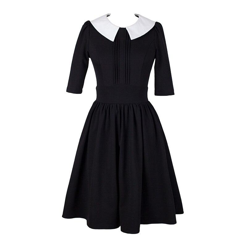 Onwijs Hepburn Herfst Zwarte Jurk met Witte Kraag Chic Jurken New York IK-77