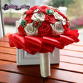 Red Coral Blue Green Satin Silk Rose Wedding Bouquet Bridal Rhinestone Jewelry diamante Custom Hand Made Flower decoration