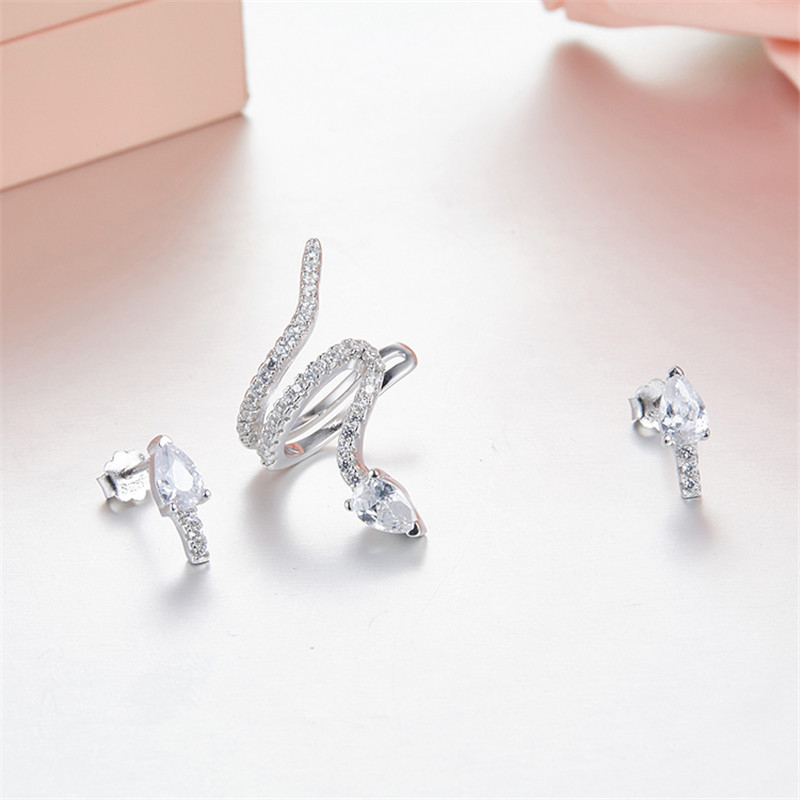 Summer Style Snake Ear Cuff Earrings For Women MONACO Earings Clip On Ear Fashion Jewelry bijoux one set silver jewelry one piece trendy rhinestone butterfly ear cuff for women