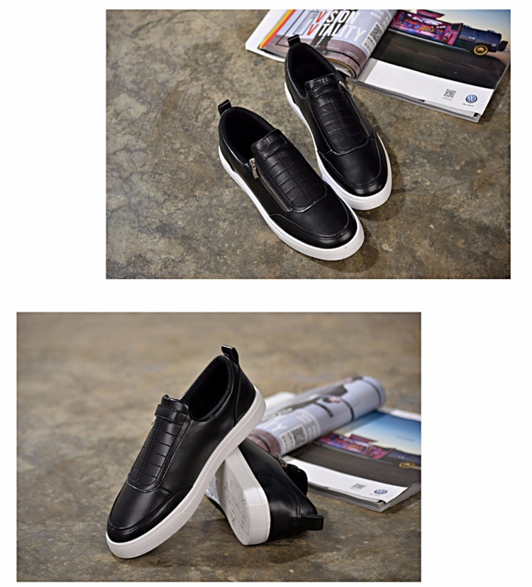 BODNSN Casual Men\'s Skate Shoes Zip Leather Flats 2016 New Solid Round Toe Men\'s Flat Shoes Breathable Fashion Man Shoes PX43 (6)